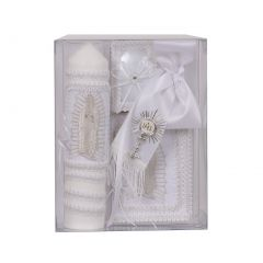 Rain Kids Boys White Virgin Mary Detail English First Communion Candle Set