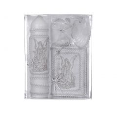 Rain Kids Unisex White Angel Embroidery English Version Baptism Candle Set