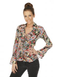 Cathaya Women's Red Multi Color Floral Print Long Sleeve Pleated Shirt L