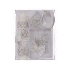 Rain Kids Unisex White Bow Flower Applique Spanish Version Baptism Candle Set