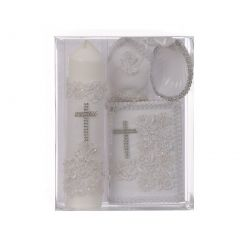 Rain Kids Unisex White Flower Applique Cross English Version Baptism Candle Set