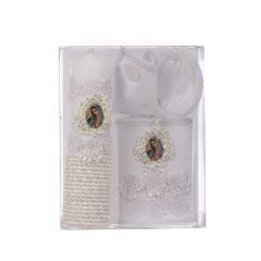 Rain Kids Unisex White Flower Icon Applique Spanish Version Baptism Candle Set