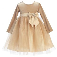 Lito Little Girls Gold Velvet Bow Accent Glitter Tulle Occasion Dress 2T-6