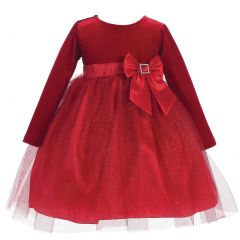 Lito Baby Girls Red Velvet Bow Accent Glitter Tulle Occasion Dress 6-24M