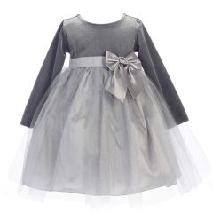 Lito Baby Girls Silver Velvet Bow Accent Glitter Tulle Occasion Dress 6-24M