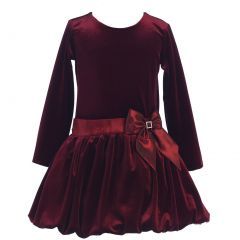 Lito Little Girls Burgundy Stretch Velvet Bow Bubble Occasion Dress 2T-6