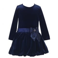 Lito Big Girls Navy Stretch Velvet Bow Accent Bubble Occasion Dress 7-10