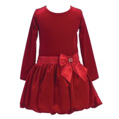 Lito Little Girls Red Stretch Velvet Bow Accent Bubble Occasion Dress 2T-6