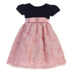 Lito Little Girls Black Dusty Rose Velvet Corded Tulle Occasion Dress 2T-6
