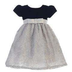 Lito Little Girls Black Silver Glitter Velvet Corded Tulle Occasion Dress 2T-6