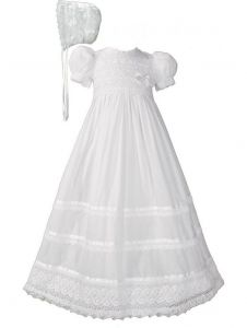 Baby Girls White Cotton Lace Ribbon Short Sleeve Hat Christening Gown 0-24M