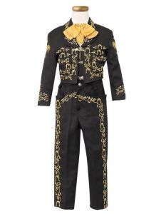 Little Boys Black Gold Embroidered Mariachi Pants Jacket Hat Set 1-8