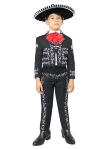Little Boys Black Silver Embroidered Mariachi Pants Jacket Hat Set 1-8