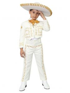 Big Boys Ivory Gold Embroidered Mariachi Pants Jacket Hat Set 10-20
