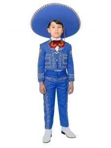 Little Boys Royal Blue Embroidered Mariachi Pants Jacket Hat Set 1-8