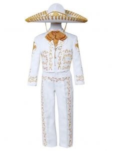 Big Boys White Gold Embroidered Mariachi Pants Jacket Hat Set 10-20