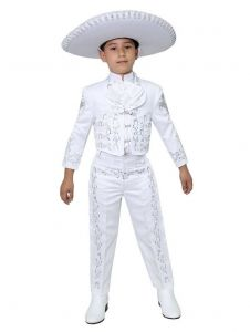 Little Boys White Silver Embroidered Mariachi Pants Jacket Hat Set 1-8