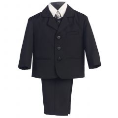 Little Boys Black Special Occasion Wedding Easter 5pc Suit Set 12M-14
