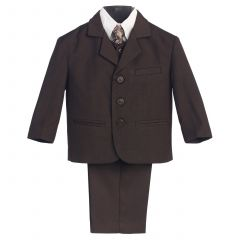 Little Boys Brown Special Occasion Wedding Easter 5pc Suit Set 12M-14