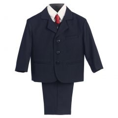 Lito Big Boys Navy Wedding Easter 5 Pcs Special Occasion Suit 8-14 Husky