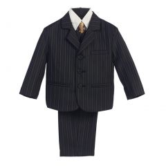 Lito Big Boys Black Gold Pin Stripe 5 Pcs Special Occasion Suit 8-14