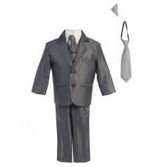 Lito Baby Boys Pewter Two-button Metallic Special Occasion Suit 6-24M