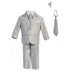 Lito Baby Boys Silver Two-button Metallic Special Occasion Suit 6-24M