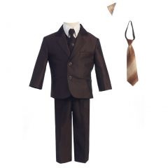 Lito Baby Boys Brown Two-button Herringbone Pattern Special Occasion Suit 6-24M