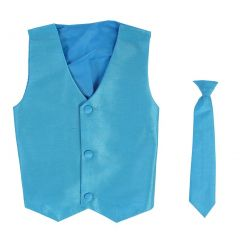 Lito Little Boys Aqua Poly Silk Vest Necktie Special Occasion Set 4T