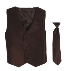 Lito Big Boys Brown Poly Silk Vest Necktie Special Occasion Set 8-14