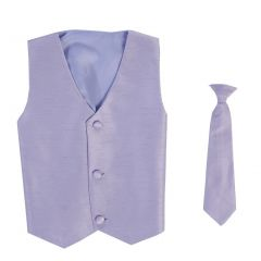 Lito Big Boys Lilac Poly Silk Vest Necktie Special Occasion Set 8-14