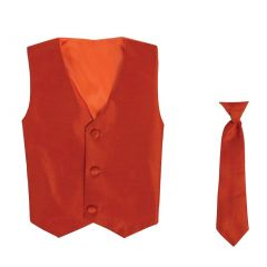 Lito Big Boys Orange Poly Silk Vest Necktie Special Occasion Set 8-14