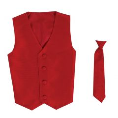 Lito Big Boys Red Poly Silk Vest Necktie Special Occasion Set 8-14
