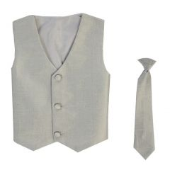Lito Little Boys Silver Poly Silk Vest Necktie Special Occasion Set 2T-3T