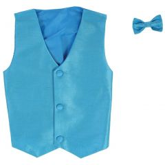 Lito Big Boys Aqua Poly Silk Vest Bowtie Special Occasion Set 8-14