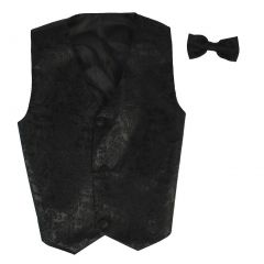 Lito Little Boys Black Paisley Poly Silk Vest Bowtie Special Occasion Set 2T-7