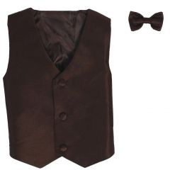 Lito Baby Boys Brown Poly Silk Vest Bowtie Special Occasion Set 3-24M