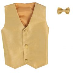 Lito Baby Boys Gold Poly Silk Vest Bowtie Special Occasion Set 3-24M