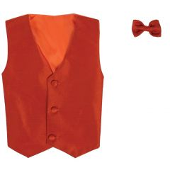Lito Baby Boys Orange Poly Silk Vest Bowtie Special Occasion Set 3-24M