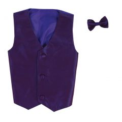 Lito Baby Boys Purple Poly Silk Vest Bowtie Special Occasion Set 3-24M