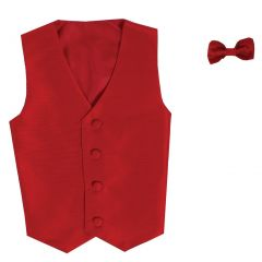 Lito Baby Boys Red Poly Silk Vest Bowtie Special Occasion Set 3-24M