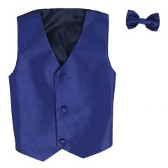 Lito Baby Boys Royal Blue Poly Silk Vest Bowtie Special Occasion Set 3-24M