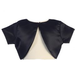 Lito Little Girls Black Satin Special Occasion Bolero Shrug 2T-7