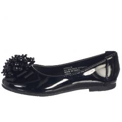 Lito Girls Black Crystal Bead Bow Anna Occasion Dress Shoes Kids 11-4