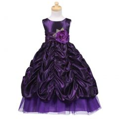 Lito Purple Sash Taffeta Christmas Dress Toddler Little Girls 2T-12