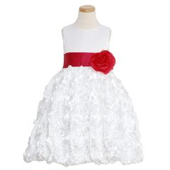 Lito White Fuchsia Floral Ribbon Flower Girl Dress Little Girls 6M-12