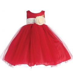 Lito Baby Girls Red Ivory Sash Poly Silk Tulle Flower Girl Dress 6-24M