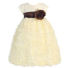 Lito Baby Girls Ivory Chocolate Sash Taffeta Tulle Flower Girl Dress 6-24M
