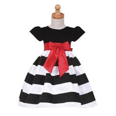 Lito Girls Black Stripe Flocked Christmas Dress Baby Toddler Girls 6M-7