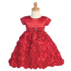 Lito Red Satin Floral Ribbon Christmas Flower Girl Dress Girls 2T-12
